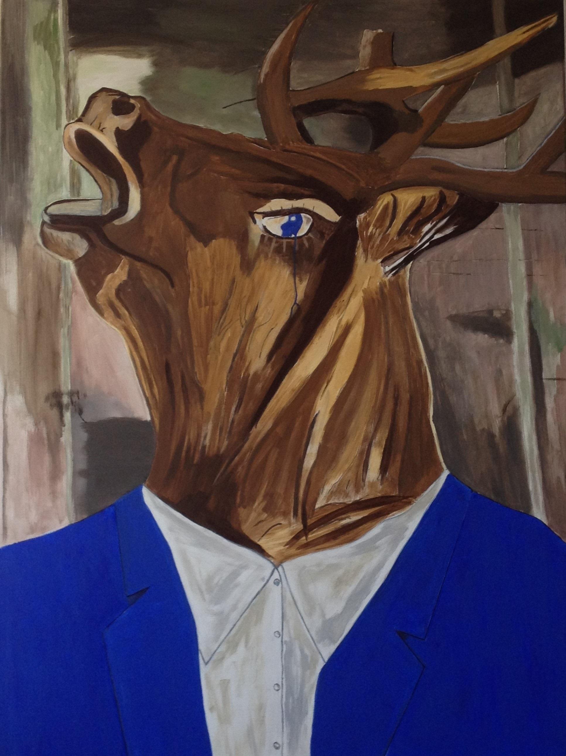 Röhrender Hirsch im blauen Anzug